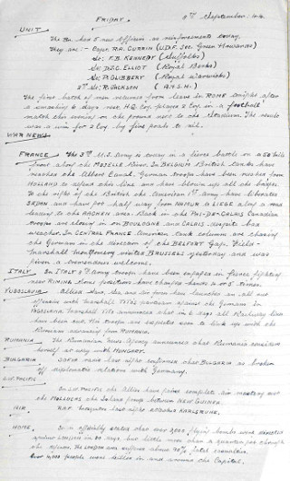 An extract from the overseas service diary of the 1st Battalion Hertfordshire Regiment (Territorial Army) when they were stationed in Italy, June 1944. As well as giving a daily account of the Unit, war news from around the world was reported | Hertfordshire Archives and Local Studies Ref: DE/Yo/1/20