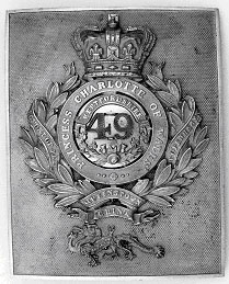 Photograph showing a 49th Foot officer's cross belt plak gilt, as worn in 1843-1855   Hertfordshire Archives and Local Studies, Ref: DE/Yo/6/1/4