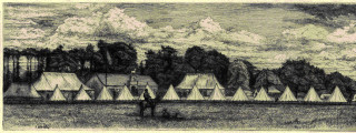 Etching by A W Henley of the encampment of the 1st Herts Light Horse Volunteers at Silver Leys, Bishops Stortford c.1875 | Hertfordshire Archives and Local Studies, Ref: DE/Yo/2/6