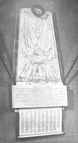 Monument to the officers and men of the 49th who fell in the Crimean war. It was destroyed by fire in All Saints Church, Hertford, 1891   Hertfordshire Archives and Local Studies. Ref: DE/Yo/1/52