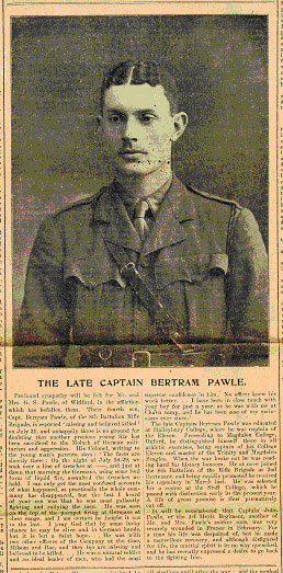 Obituary published in the Hertfordshire Mercury, 7 August 1915