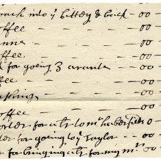 Upper servant's bill, London (Hale family,) 1695. The total bill was £19, 13s 6d and included items such as sugar, newspapers, washing, silk and lace. | Hertfordshire Archives and Local Studies, Ref: 70138A/33