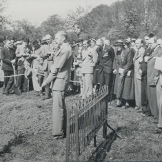 1935 - King George V's Silver Jubilee year. The photograph shows a ceremonial tree-planting on the Campus, Welwyn Garden City, in May of that year | Hertfordshire Archives & Local Studies