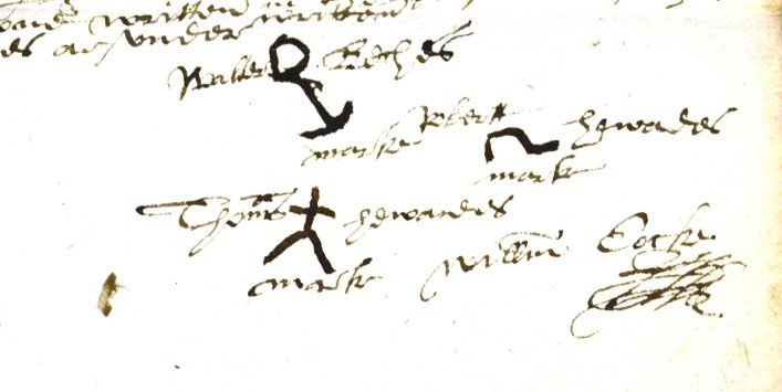 Two marks here look like recognisable objects, and anchor and a headless man. These we found on the will of Walter Beche of Redbourn. Dated 1591.     ref.32AW1 | Hertfordshire Archives and Local Studies