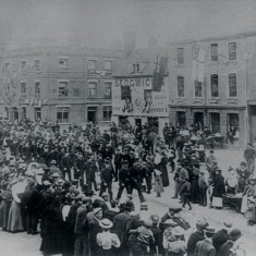Queen Victoria's Diamond Jubilee celebrations in Watford, 1897. Procession through Market Place | Hertfordshire Archives & Local Studies