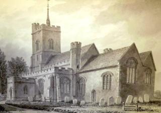 Watton church circa 1830 - showing steeple | Hertfordshire Archives & Local Studies