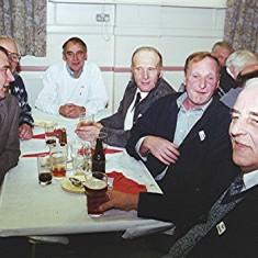 Left to right: Ivor Webb, Clifford Hill, Ellis Webb, Ken Hedges, Clifford Cootes and Tom Belshaw; extreme left: Ken Miles | Geoff Webb