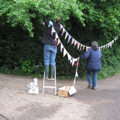 Up goes the bunting