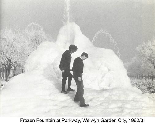 Frozen fountain in Welwyn Garden City