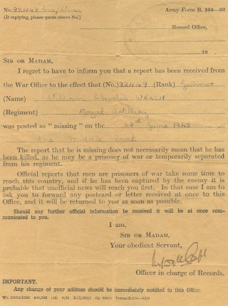 The notification that my father had been reported as missing, 29 June 1942