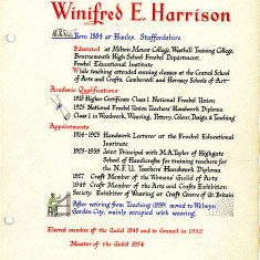 Wilfred Harrison's page of the Welwyn Craftworkers Guild Book | HALS