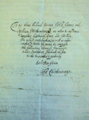 Wittewronge family letter - to my three beloved Sonnes | Hertfordshire Archives and Local Studies