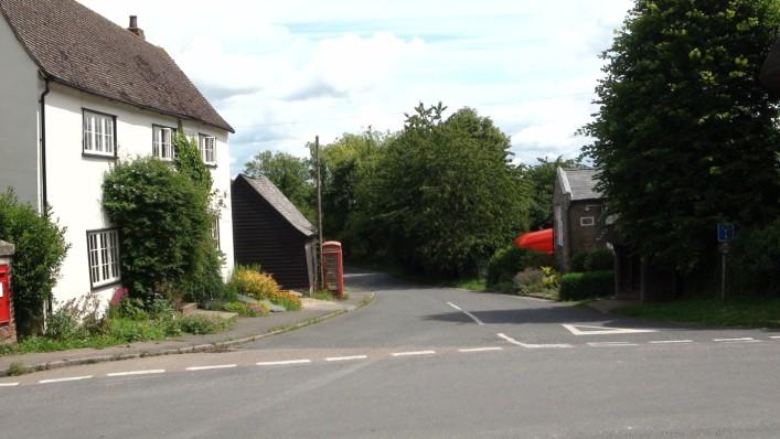 The public house (white building, left) that Orwell references | Adam Jones-Lloyd