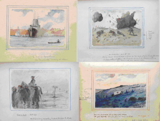Watercolour sketches by C F Lock, which give a vivid insight into the conditions that were endured during active service in the First World War. C Lock served with the Hertfordshire Yeomanry, 1st/1st Regiment in the Western Desert, Gallipoli, Mesopotamia and Palestine, 1915-1919 | Hertfordshire Archives and Local Studies, Ref: DE/Yo/2/13-16