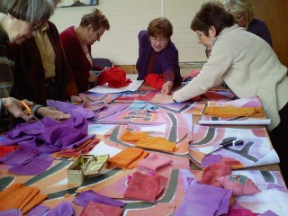 Working on Klee inspired piece | New Horizons Textile Group