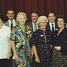 Boys School Reunion Helpers, left to right: Colin and Jean Smith, Geoff Webb, Thelma and Ray Webb, Olive and Derek Fellowes, Margaret Webb, Ernie Young and Jackie. | Geoff Webb